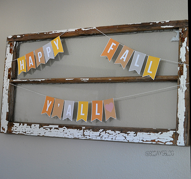 Easy fall decorations: printable banner from www.thirtyhandmadedays.com