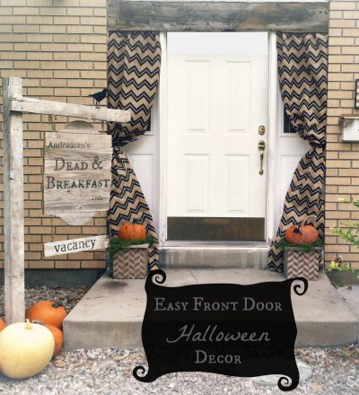Easy front door Halloween decor from Salty Bison via www.thirtyhandmadedays.com