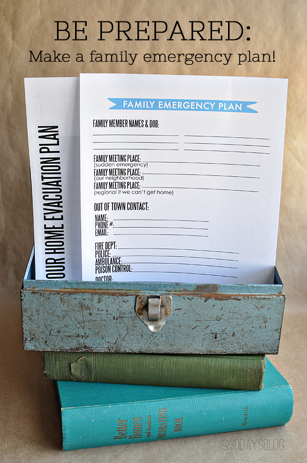 Printable Family Emergency Action Plan - use this printable to prepare your family in case of an emergency. www.thirtyhandmadedays.com