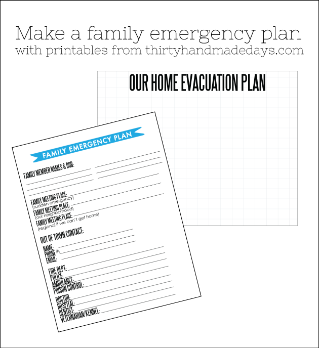 Make a family evacuation action plan in case of an emergency using these printables from www.thirtyhandmadedays.com
