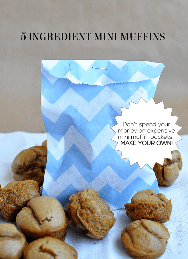 Don't spend money on expensive mini muffin packets- make your own! 5 ingredient mini muffins using a blender! www.thirtyhandmadedays.com