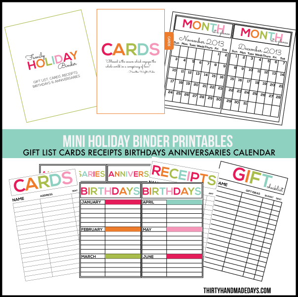 Printables for Mini Holiday Binder www.thirtyhandmadedays.com