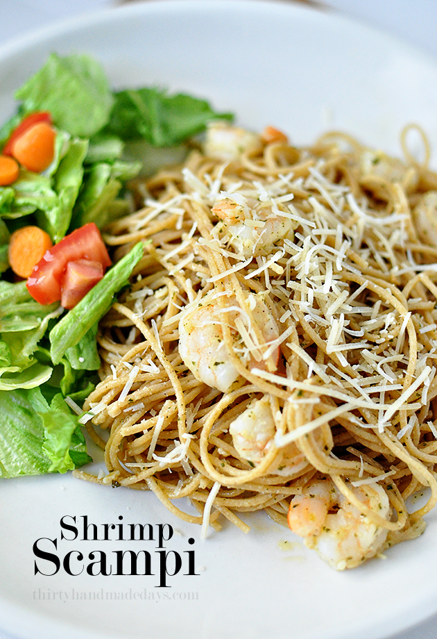 Shrimp Scampi, healthy version - perfect for a family meal. www.thirtyhandmadedays.com