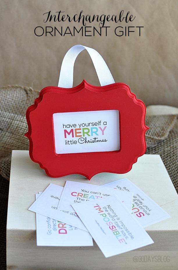 Interchangeable Ornament Gift Idea- printables from www.thirtyhandmadedays.com