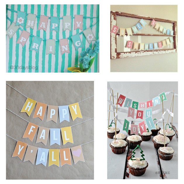 Printable Banners throughout the Year from www.thirtyhandmadedays.com
