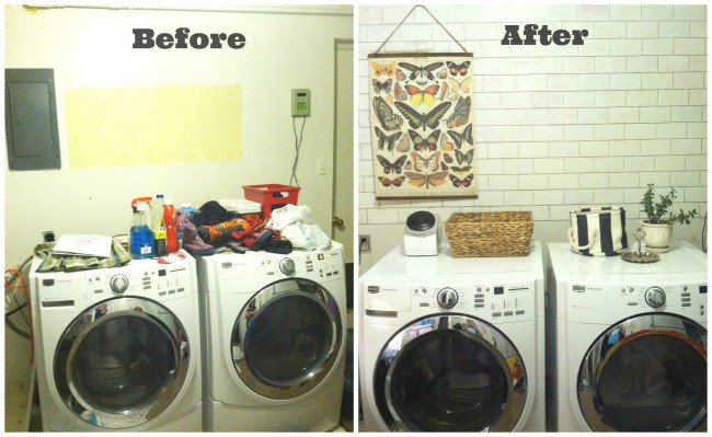 before and after faux subway tile