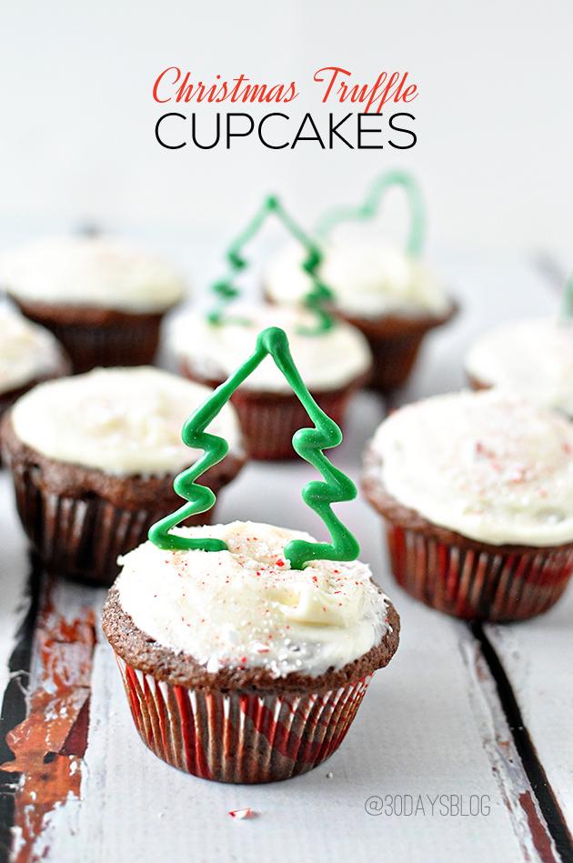 Delicious Christmas Truffle Cupcakes from www.thirtyhandmadedays.com
