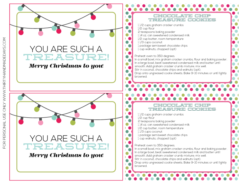 Simple Christmas Gift Printables from www.thirtyhandmadedays.com