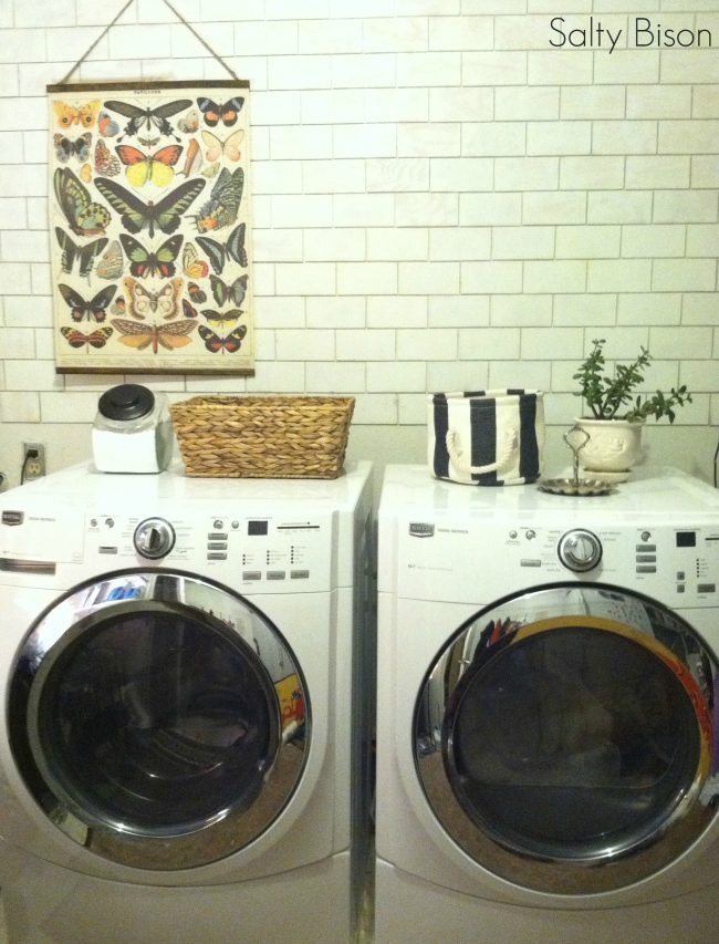 faux subway tile laundry room