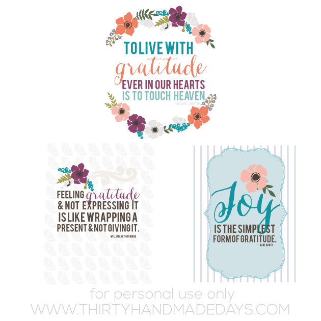Printable Gratitude Quotes from www.thirtyhandmadedays.com