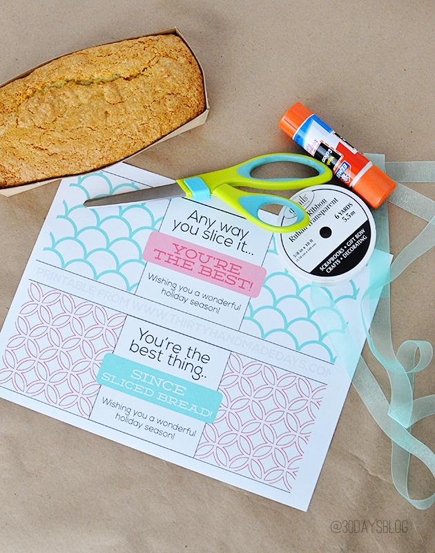 Holiday gift idea- bread printable supplies www.thirtyhandmadedays.com
