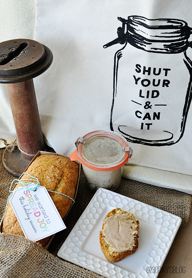 Holiday Gift Ideas: Spread Joy Printable tags with bread and honey butter www.thirtyhandmadedays.com