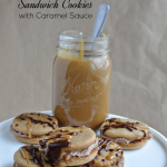 Nutella Peanut Butter Sandwich Cookies with Caramel Sauce
