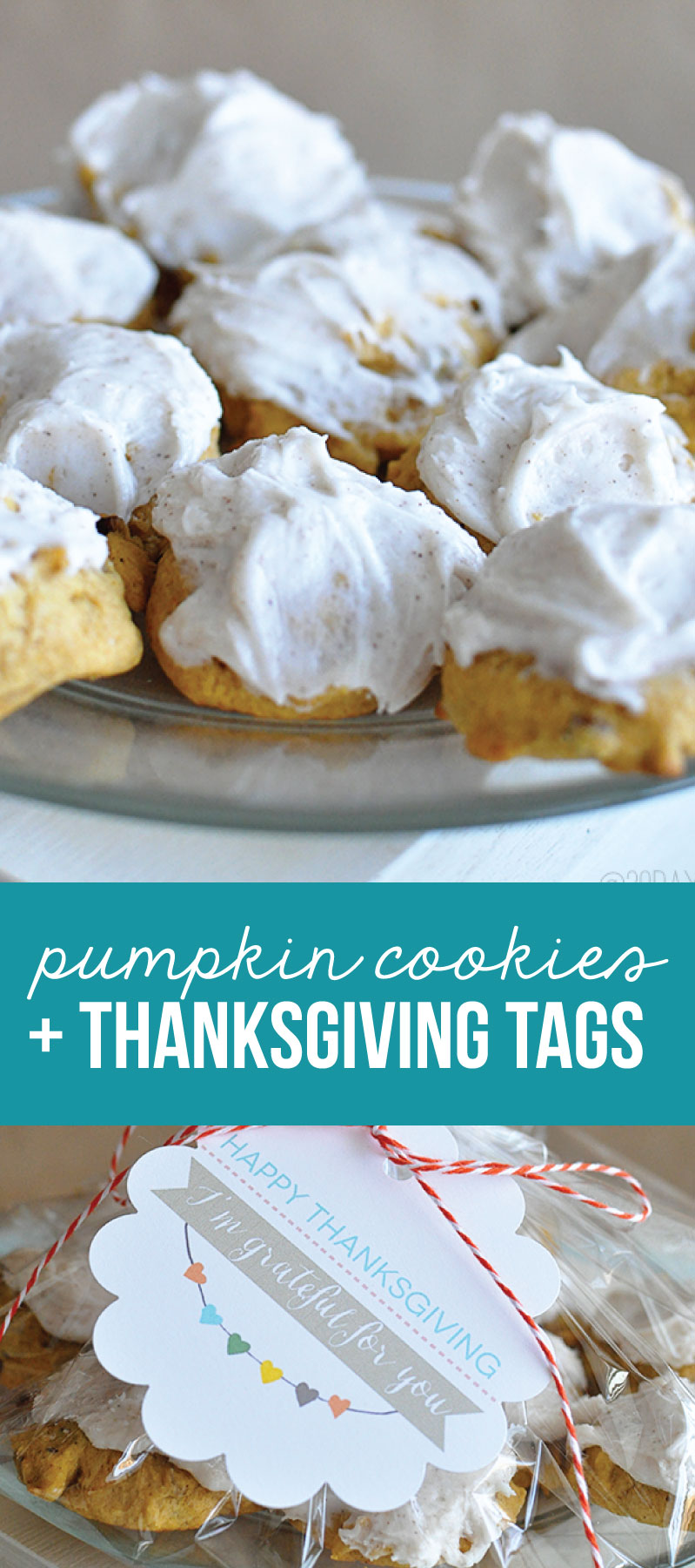 Frosted Pumpkin Cookies + Printable Thanksgiving Tags www.thirtyhandmadedays.com