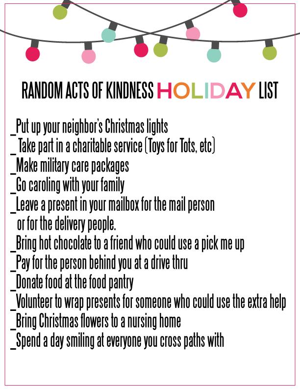 Printable Random Acts of Kindness for the Holidays List from www.thirtyhandmadedays.com