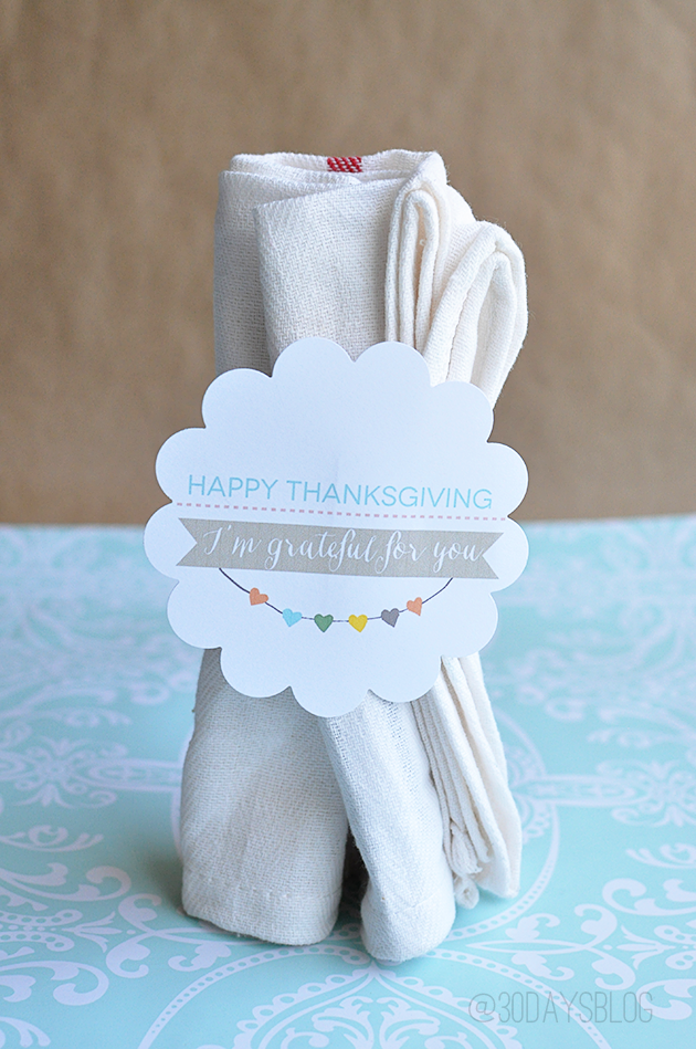 Printable Thanksgiving Napkin Rings www.thirtyhandmadedays.com
