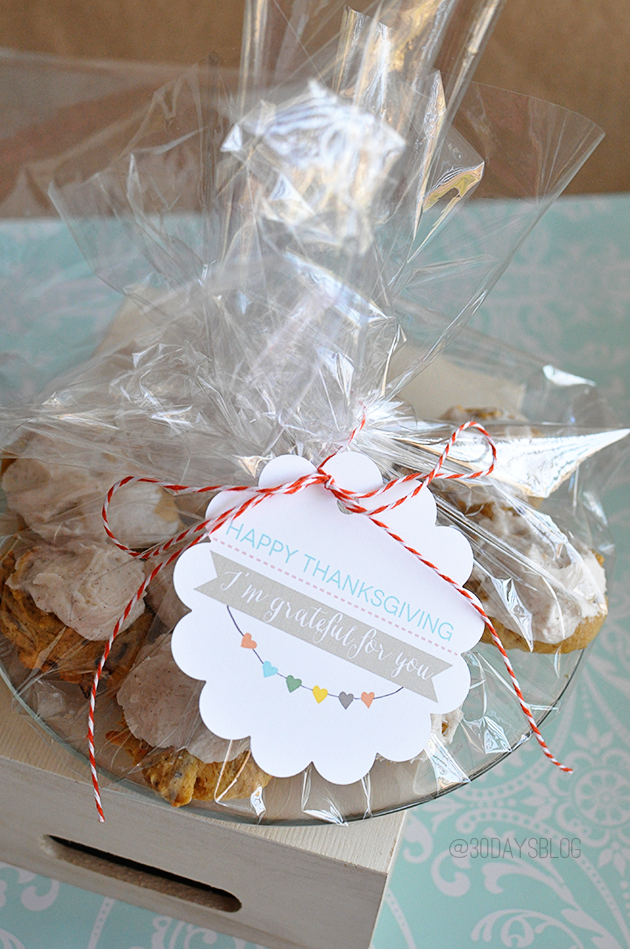 Printable Thanksgiving Tag with Frosted Pumpkin Cookies www.thirtyhandmadedays.com