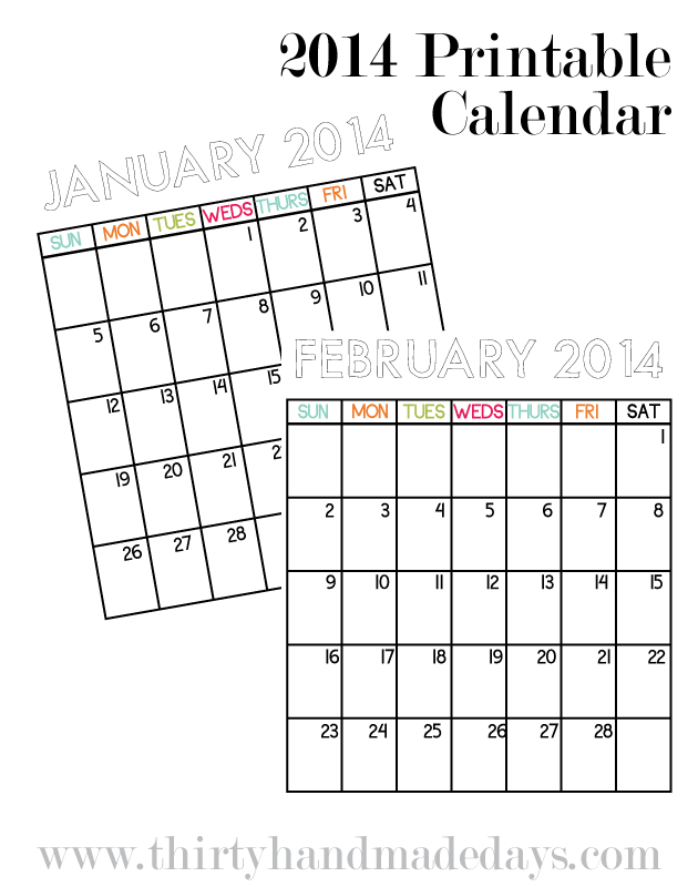 2014 Printable Calendar to go with organizational binders from www.thirtyhandmadedays.com