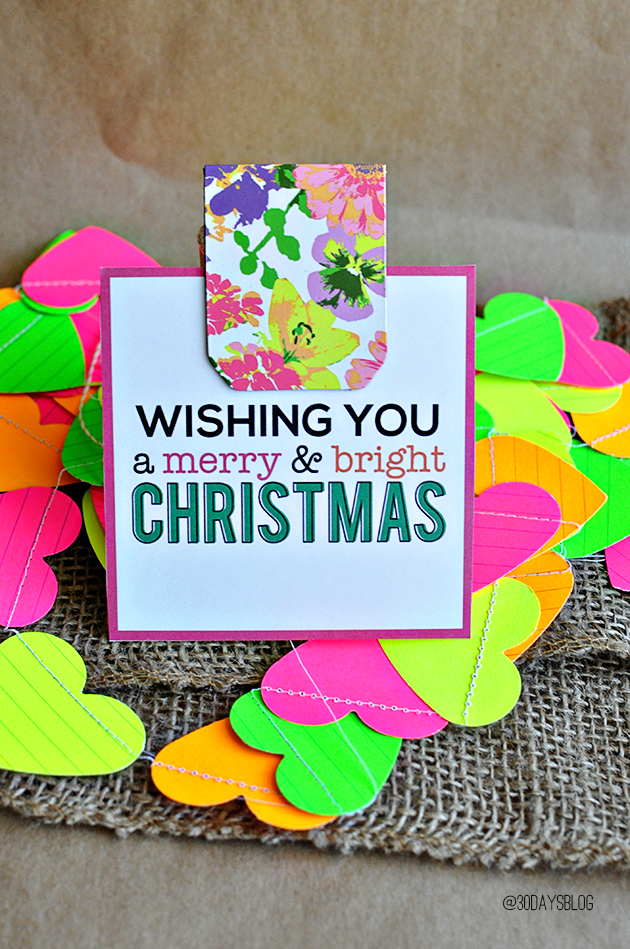 Christmas Gifts for Girls- bright and fun bookmark with printable card.
