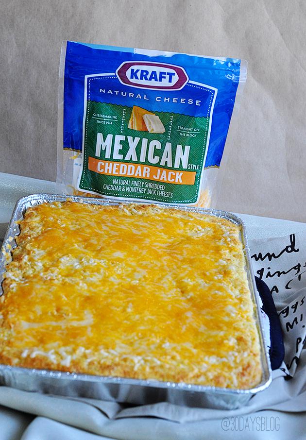 Corn Casserole featuring Kraft Cheddar Jack Cheese www.thirtyhandmadedays.com