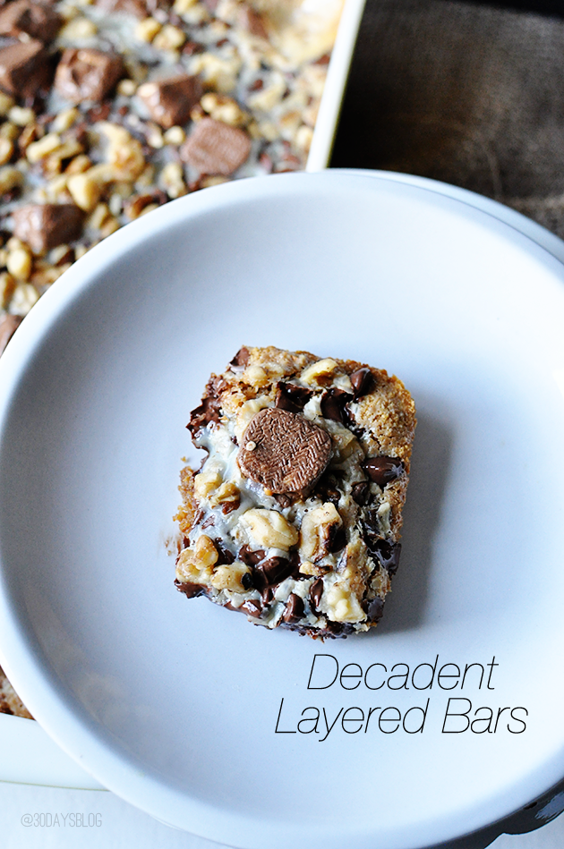 Decadent Layered Bars- rich and delicious dessert www.thirtyhandmadedays.com