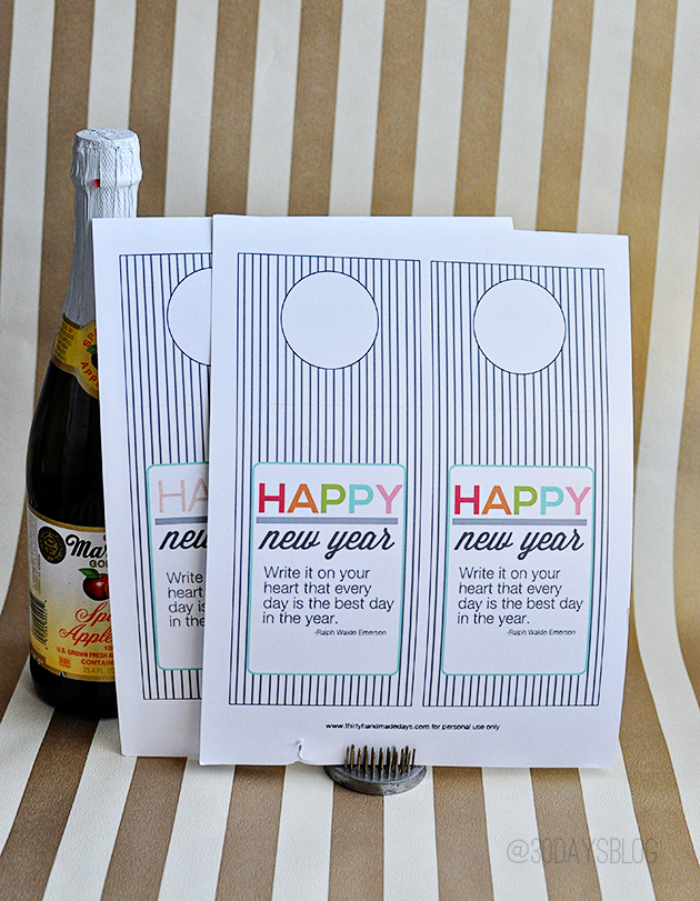 Supplies for printable bottle tag for New Year's Eve www.thirtyhandmadedays.com