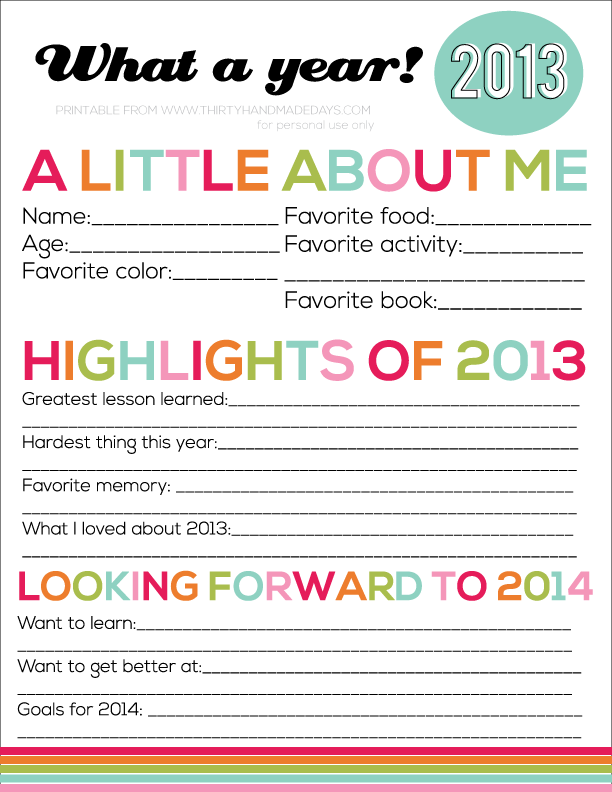Printable New Year's Resolutions for Kids