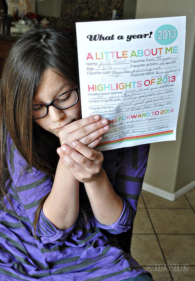 New Year's Resolutions for Kids - printable from www.thirtyhandmadedays.com