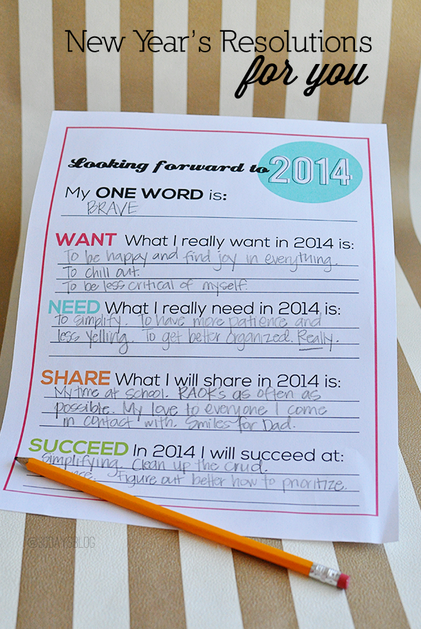 Printable New Year's Resolutions for YOU - print this and use as a guide to start the new year! www.thirtyhandmadedays.com