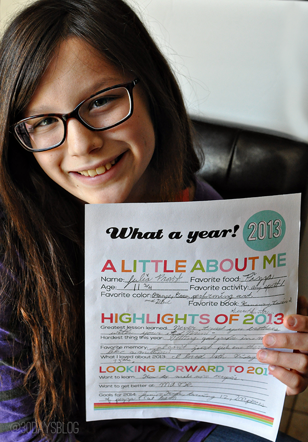 New Years Resolutions for Kids - fun printable to set goals for 2014 www.thirtyhandmadedays.com