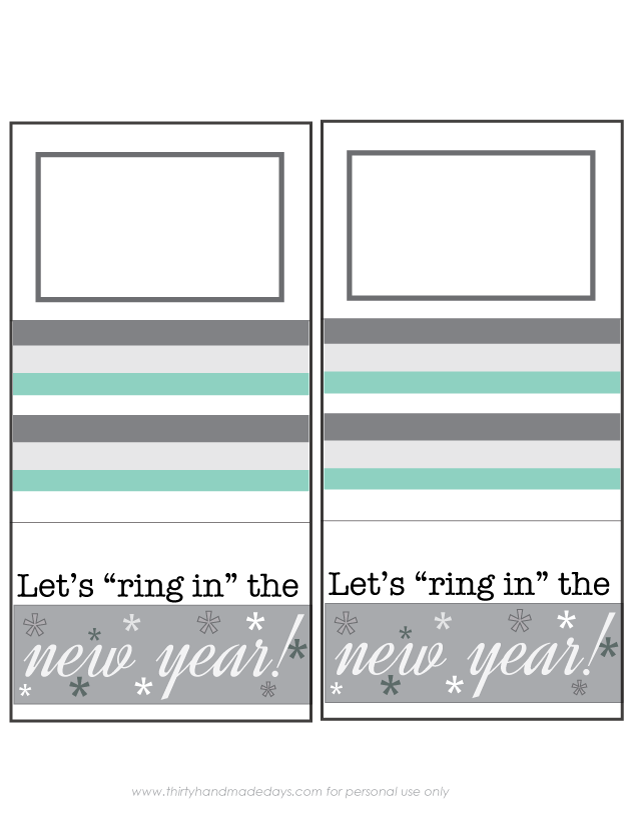 "Printable ""ring in the New Year"" gift card holder! www.thirtyhandmadedays.com"