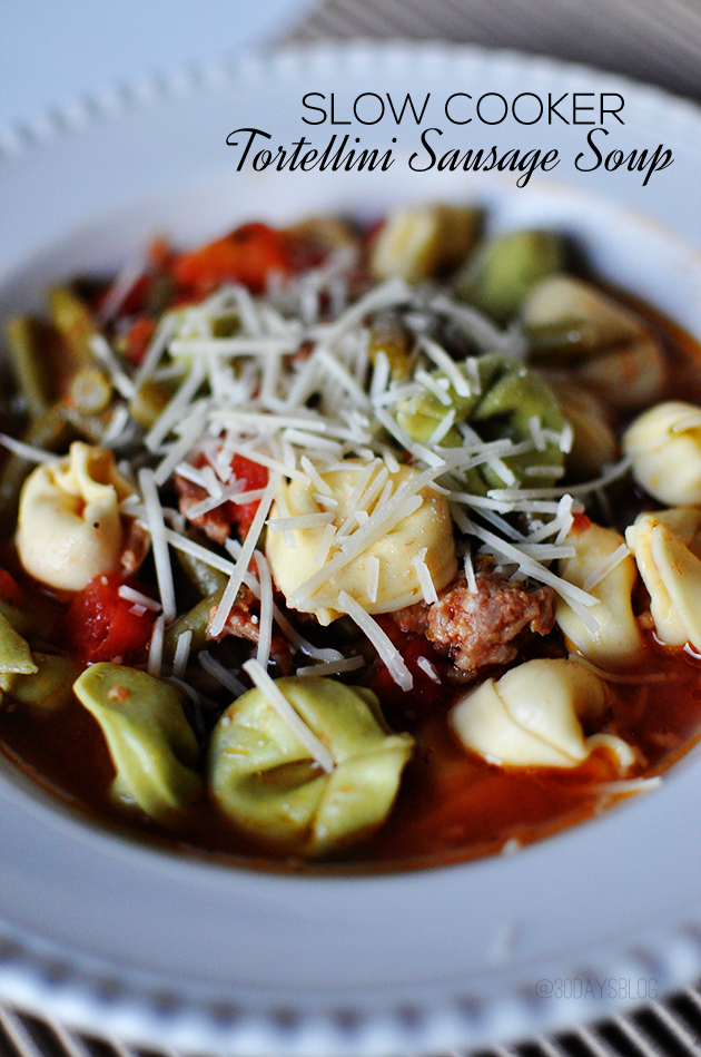 Delicious Slow Cooker Tortellini Sausage Soup - perfect chilly day meal www.thirtyhandmadedays.com
