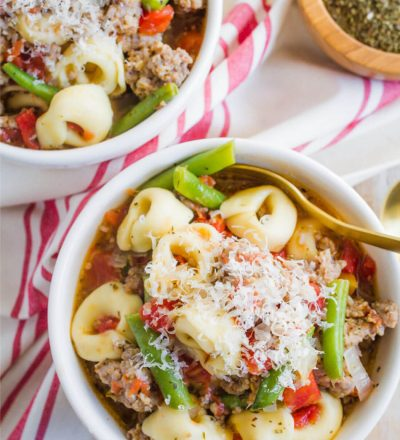 Slow Cooker Tortellini Sausage Soup - a family favorite for years! www.thirtyhandmadedays.com