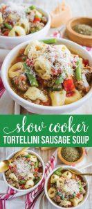 Slow Cooker Tortellini Soup - a family favorite for years! via www.thirtyhandmadedays.com