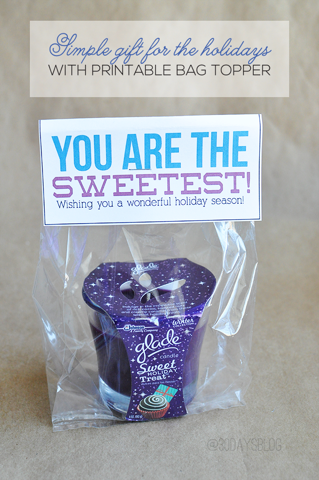 Simple & sweet gift idea for the holidays with printable included www.thirtyhandmadedays.com