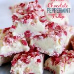 White Chocolate Peppermint Fudge feautred on www.thirtyhandmadedays.com