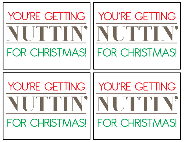 You're getting nuttin' for Christmas printable from www.thirtyhandmadedays.com