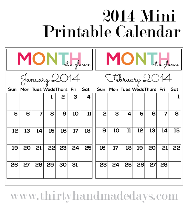 2014 Printable Mini Calendar to go with mini binder from www.thirtyhandmadedays.com