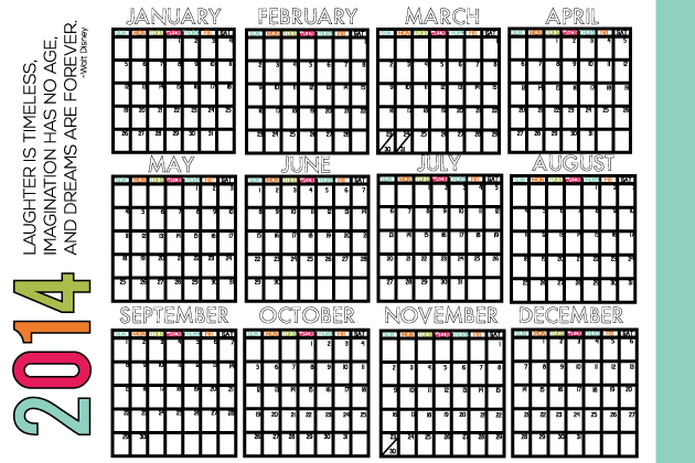 Printable Mini Calendar for 2014