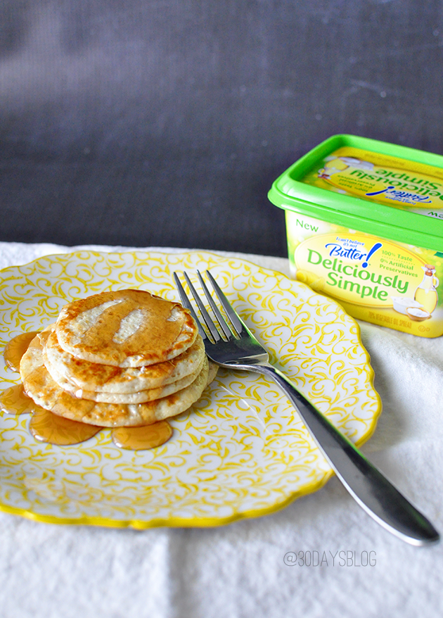 4 Ingredient Pancakes with I Can't Believe It's Not Butter Spread www.thirtyhandmadedays.com