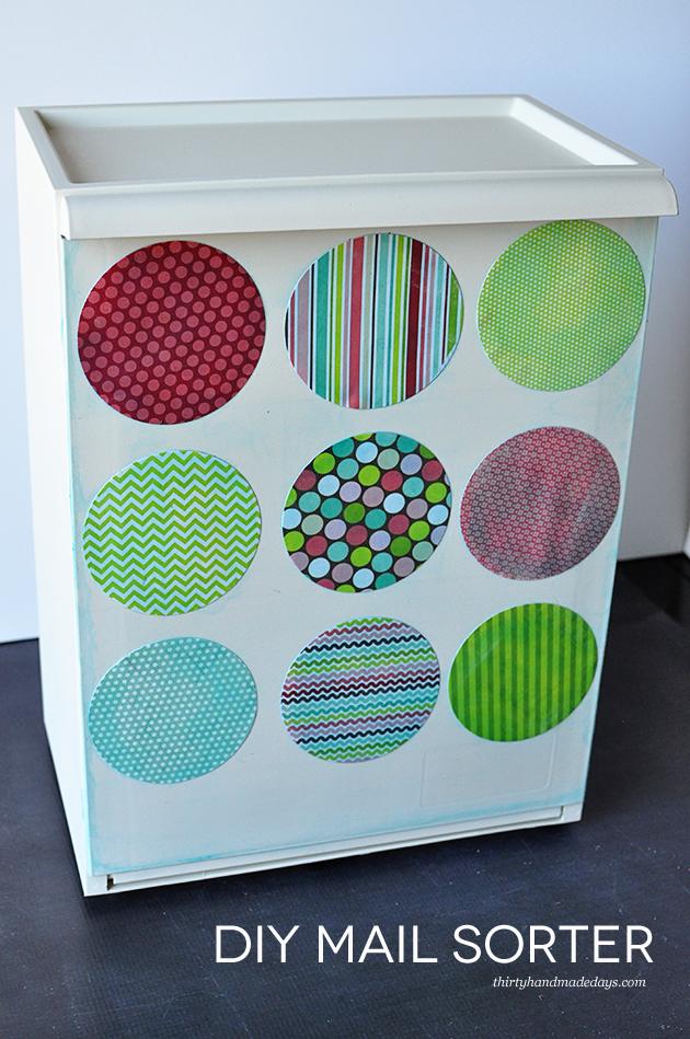 Simple DIY Mail Sorter for Organization using an Ikea box and Mod Podge - www.thirtynandmadedays.com