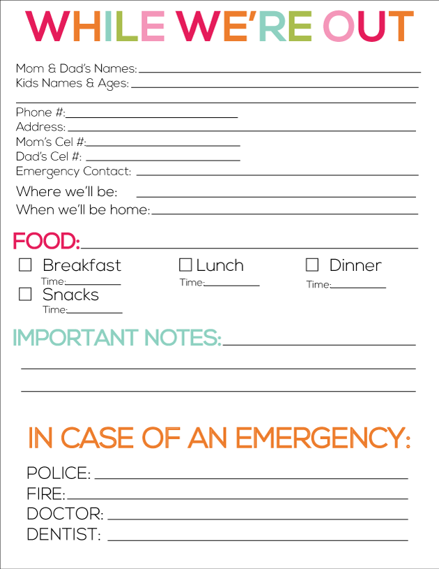 This is a graphic of Dramatic Babysitter Forms Printable Free