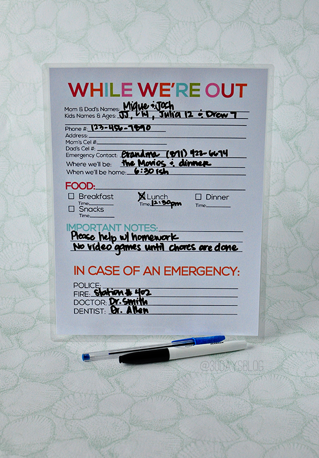 Printable laminated babysitter notes  www.thirtyhandmadedays.com