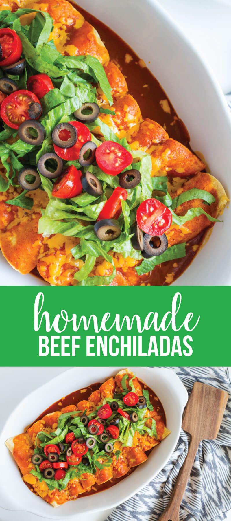 Homemade Beef Enchiladas! This main dish recipe is a family favorite.  www.thirtyhandmadedays.com