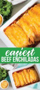 Easiest Homemade Beef Enchiladas Ever! This main dish recipe takes minutes to make. www.thirtyhandmadedays.com
