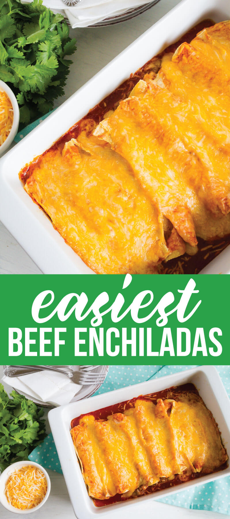 Easiest Homemade Beef Enchiladas Ever! This main dish recipe takes minutes to make.  www.thirtyhandmadedays.com