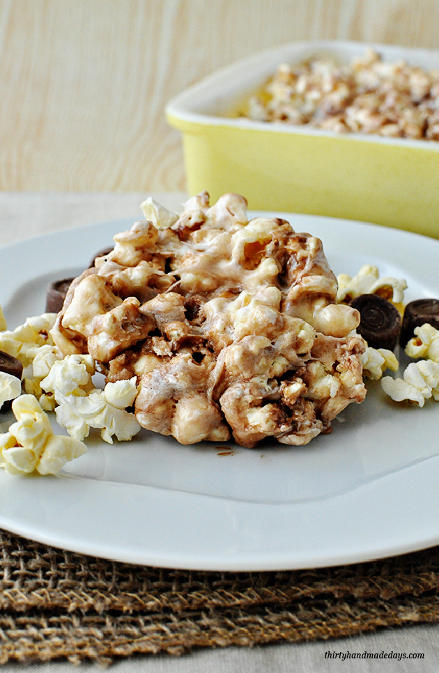 Amazing Candy Popcorn Treats with Rolos - so simple to make but absolutely delicious www.thirtyhandmadedays.com