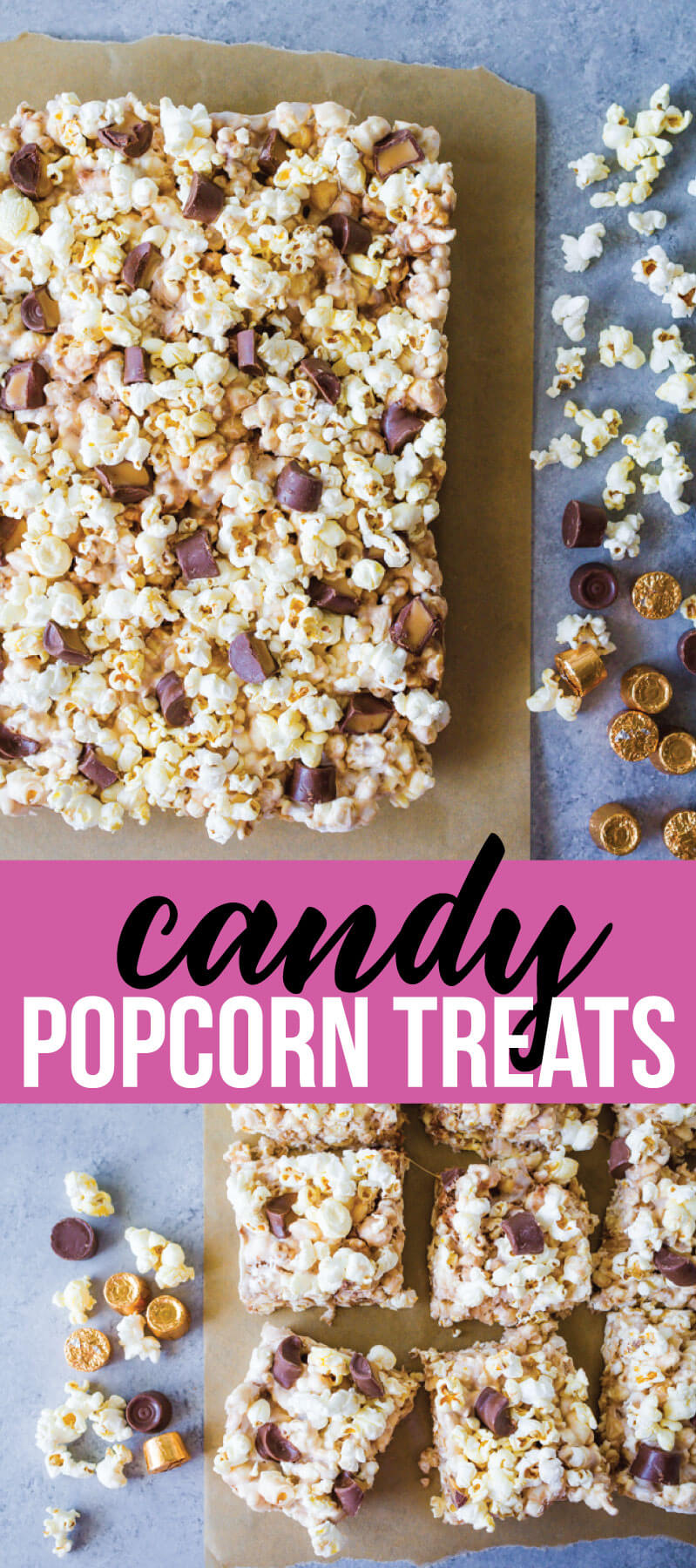 With a handful of ingredients and under ten minutes you get these amazing Candy Popcorn Treats with Rolos. via www.thirtyhandmadedays.com