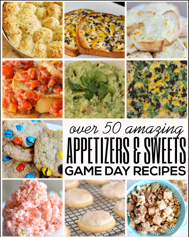 Gearing up for Sunday football? Here are some of our favorite game day recipes! Over 50 appetizers and sweets! Something for everyone. #GameDayFood #Football #NFL Round up from www.thirtyhandmadedays.com #GameDayFood #Football #NFL