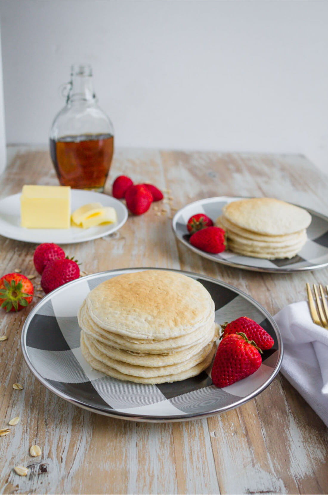 Healthy Pancake Recipe - make these 4 ingredient pancakes in the blender! Set table.
